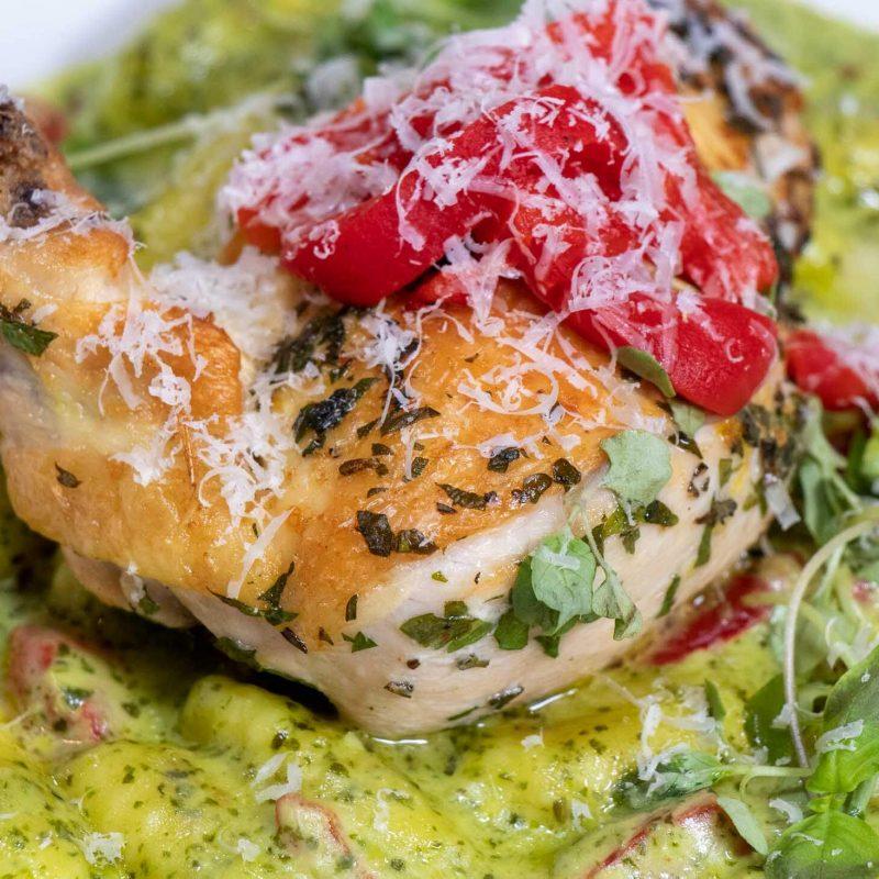 Mangiare Chicken and Pesto Gnocchi close-up